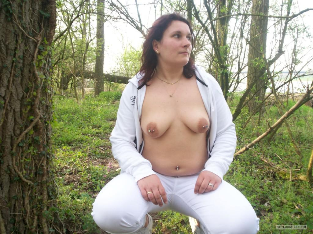 Tit Flash: Wife's Small Tits - Topless Viktoria from United KingdomPierced Nipples
