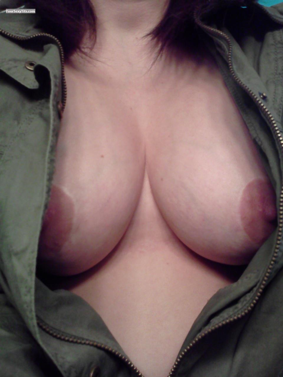 Tit Flash: Wife's Medium Tits (Selfie) - Amber from United States
