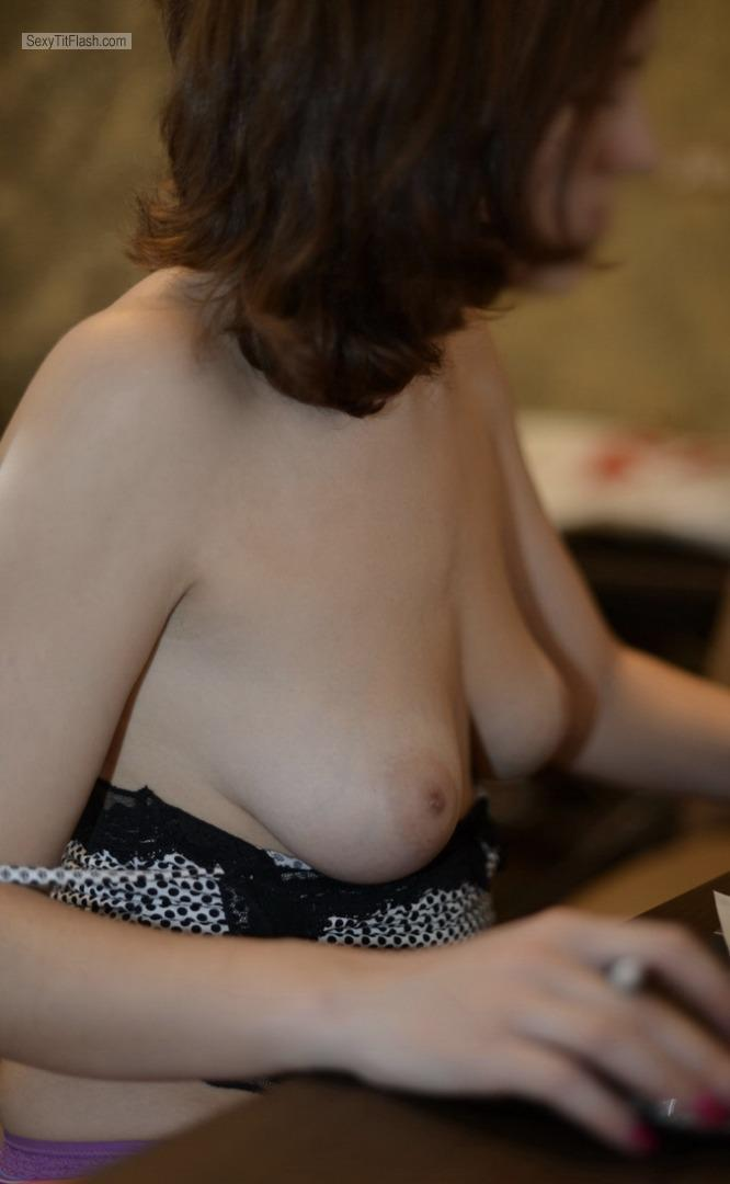 Tit Flash: Wife's Medium Tits - Eliza from France