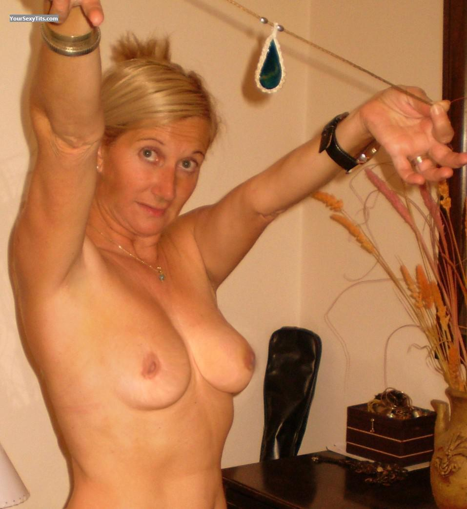 Tit Flash: Wife's Medium Tits - Topless Cristy from Argentina