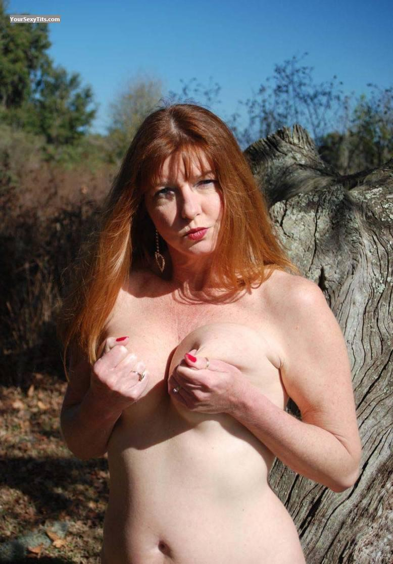 Tit Flash: Medium Tits - Topless Auggie from United States