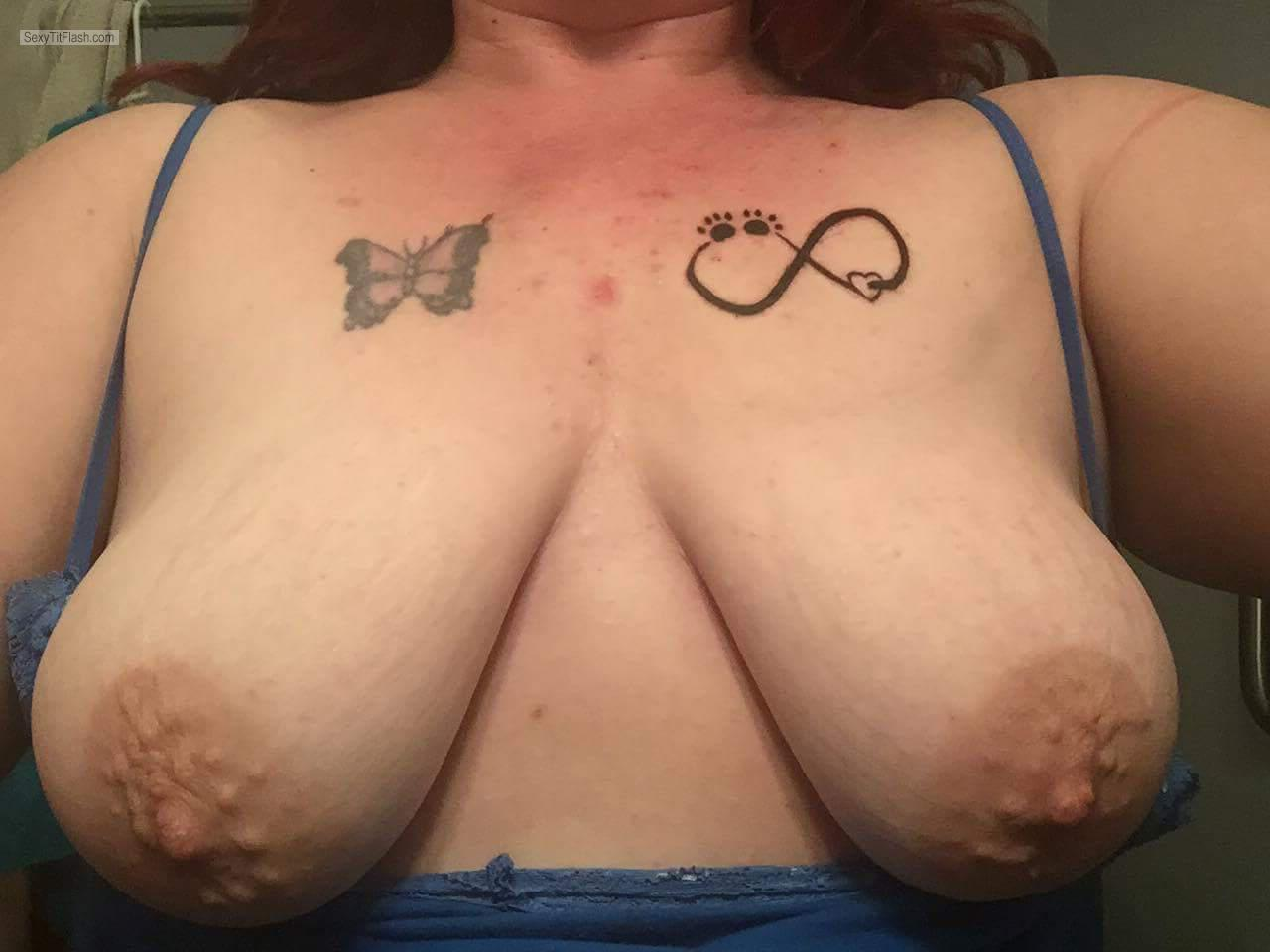 Tit Flash: Girlfriend's Medium Tits - Topless My Milf from Canada
