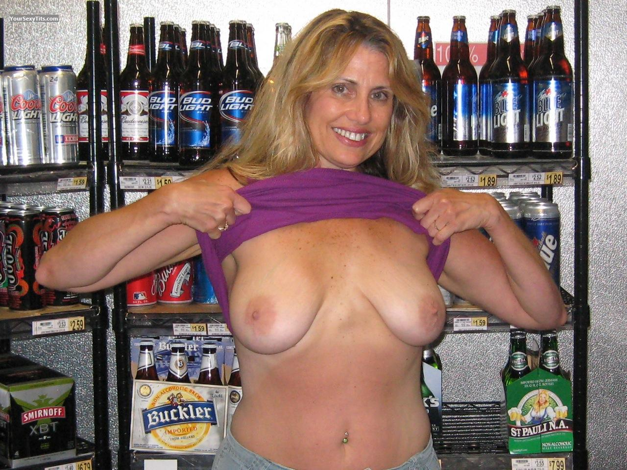 bar at Wife tits flashing