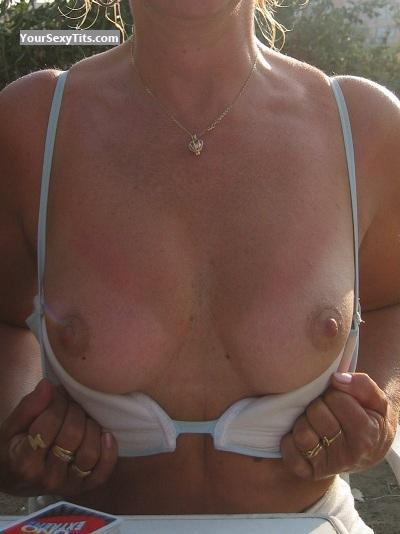 Tit Flash: Medium Tits - SAUNA from Belgium