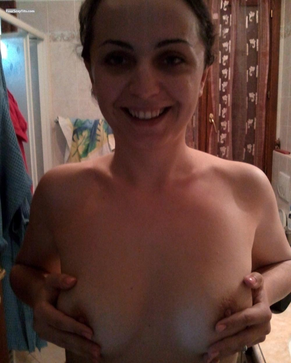 Tit Flash: Medium Tits - Topless Martina from Italy