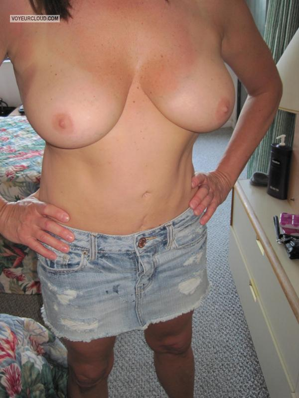 Tit Flash: My Tanlined Medium Tits - Annie4u from United States