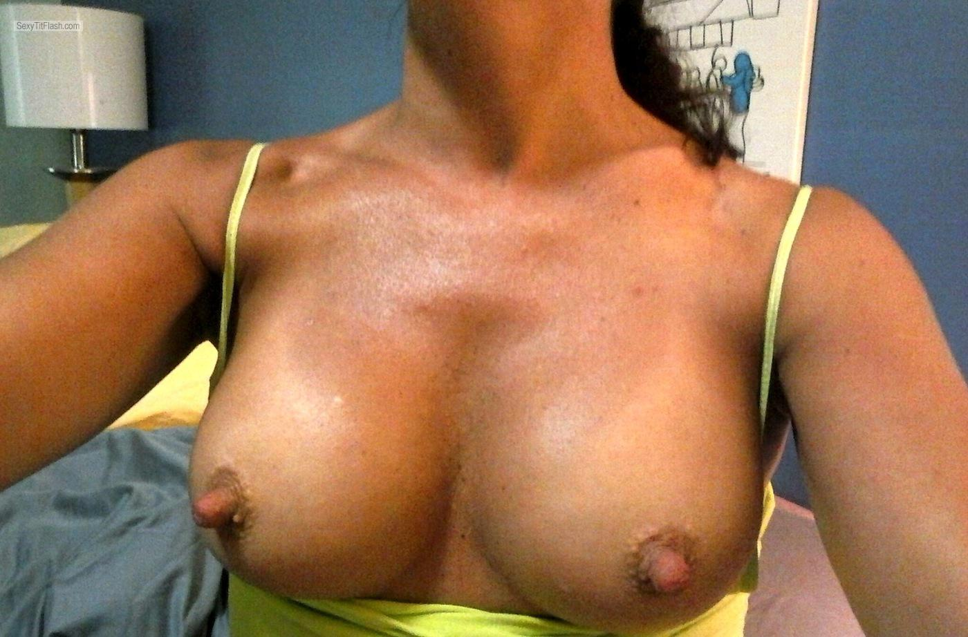 Tit Flash: My Medium Tits (Selfie) - Long Nipple Princess from United States