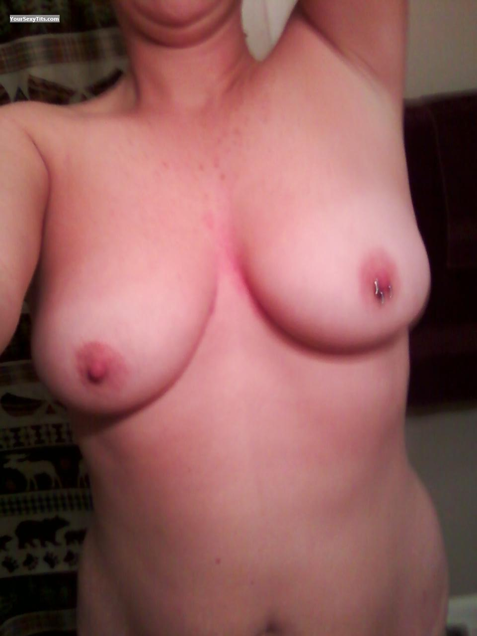 Tit Flash: My Medium Tits (Selfie) - Najios Wife from United StatesPierced Nipples