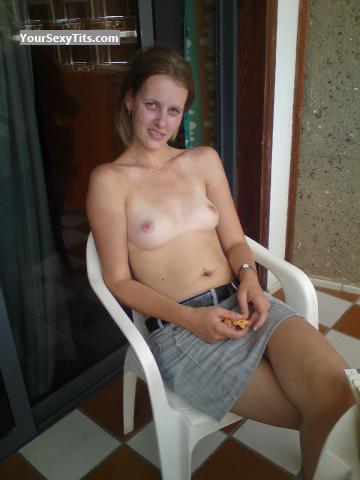 Tit Flash: Girlfriend's Tanlined Medium Tits - Topless Nath from United States