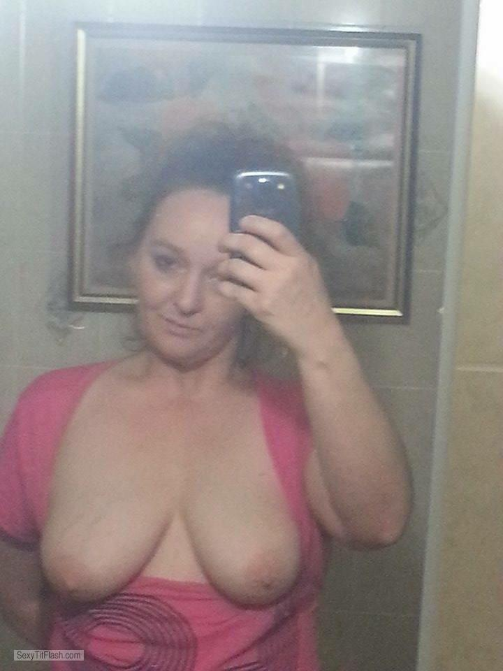 Tit Flash: My Medium Tits (Selfie) - Topless Mandi from United States