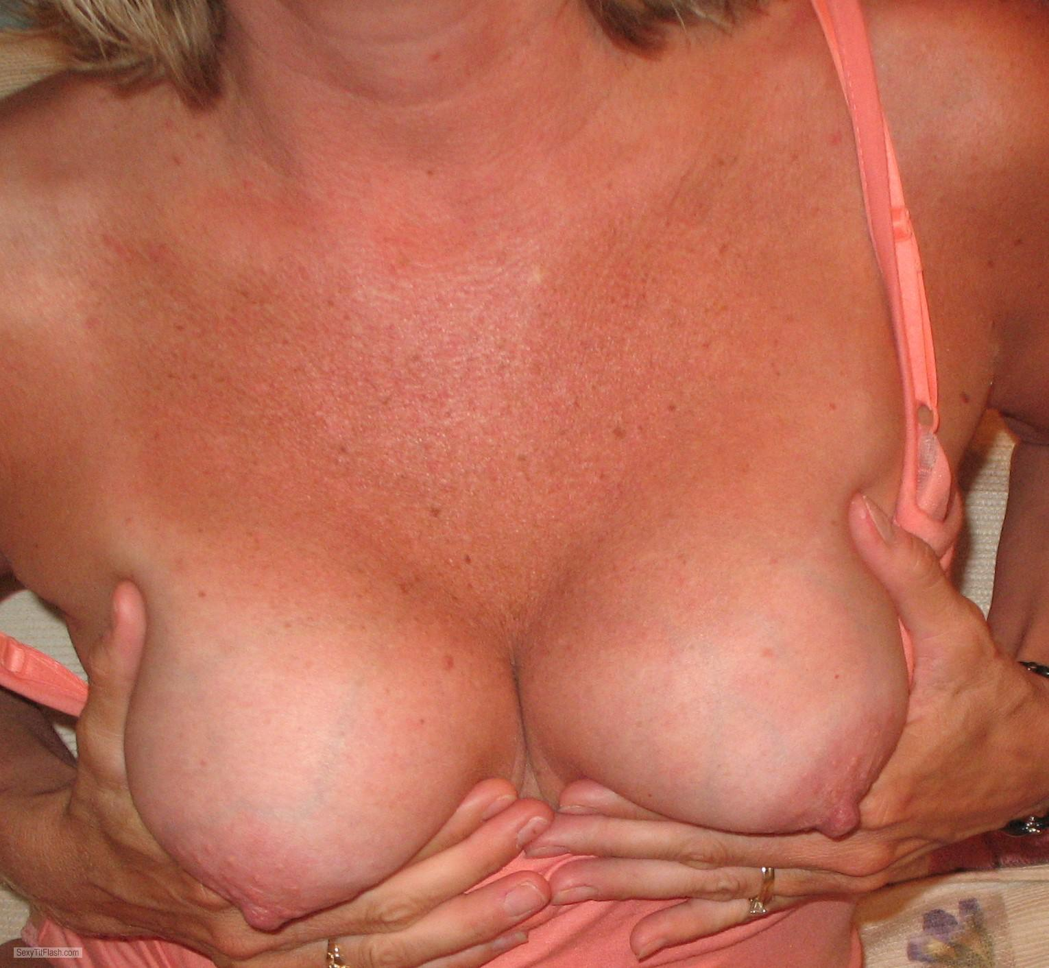 Tit Flash: Wife's Medium Tits - Fncouple from United States