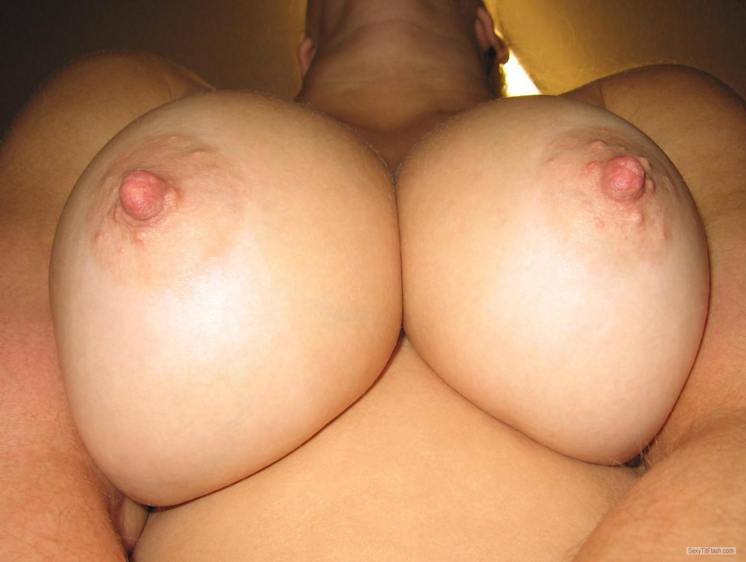 My big boobs in white t shirt tank top see thru nipples 2