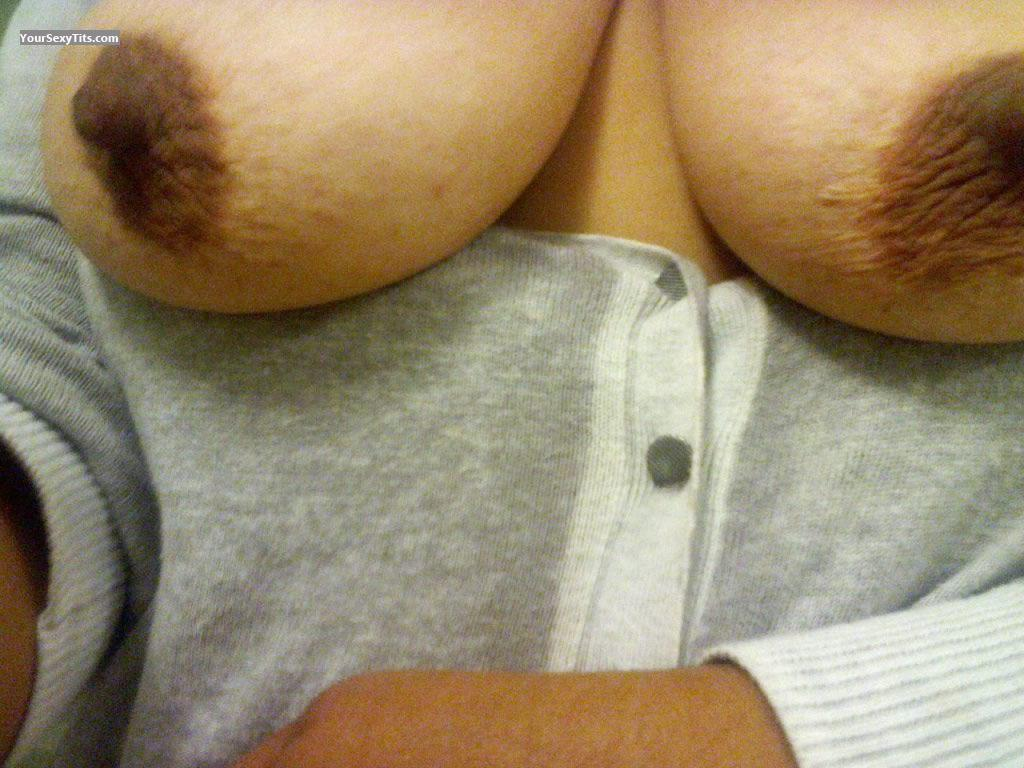 Tit Flash: Wife's Medium Tits (Selfie) - Babe from United States
