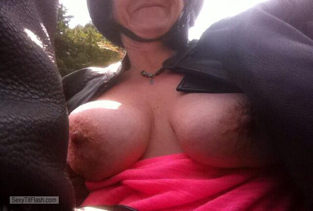 Tit Flash: Girlfriend's Medium Tits (Selfie) - Harley Marie from United States