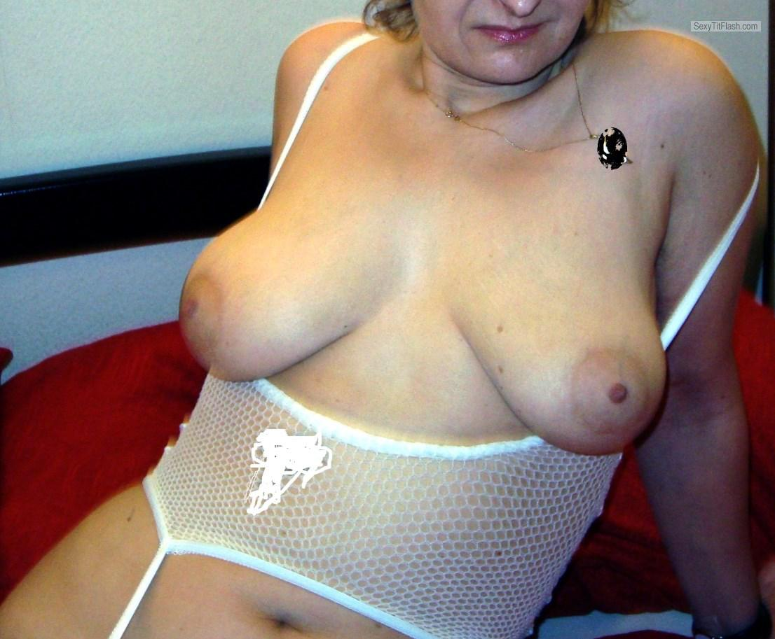 Tit Flash: Girlfriend's Medium Tits - Cleo from Switzerland