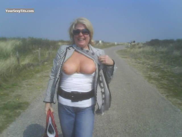 Tit Flash: Medium Tits - Topless Dotje from Belgium