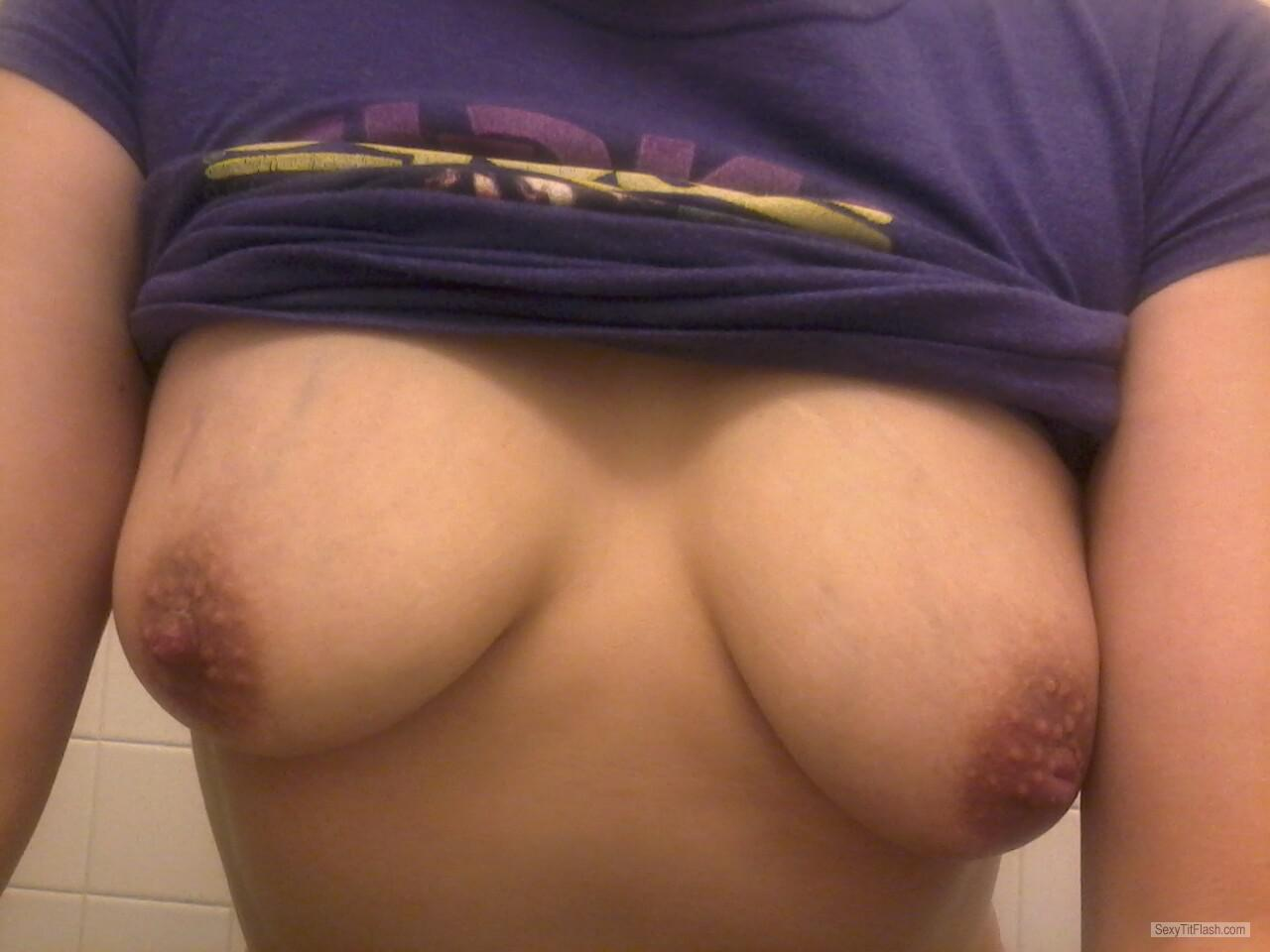 Tit Flash: My Medium Tits (Selfie) - Bunny from United States