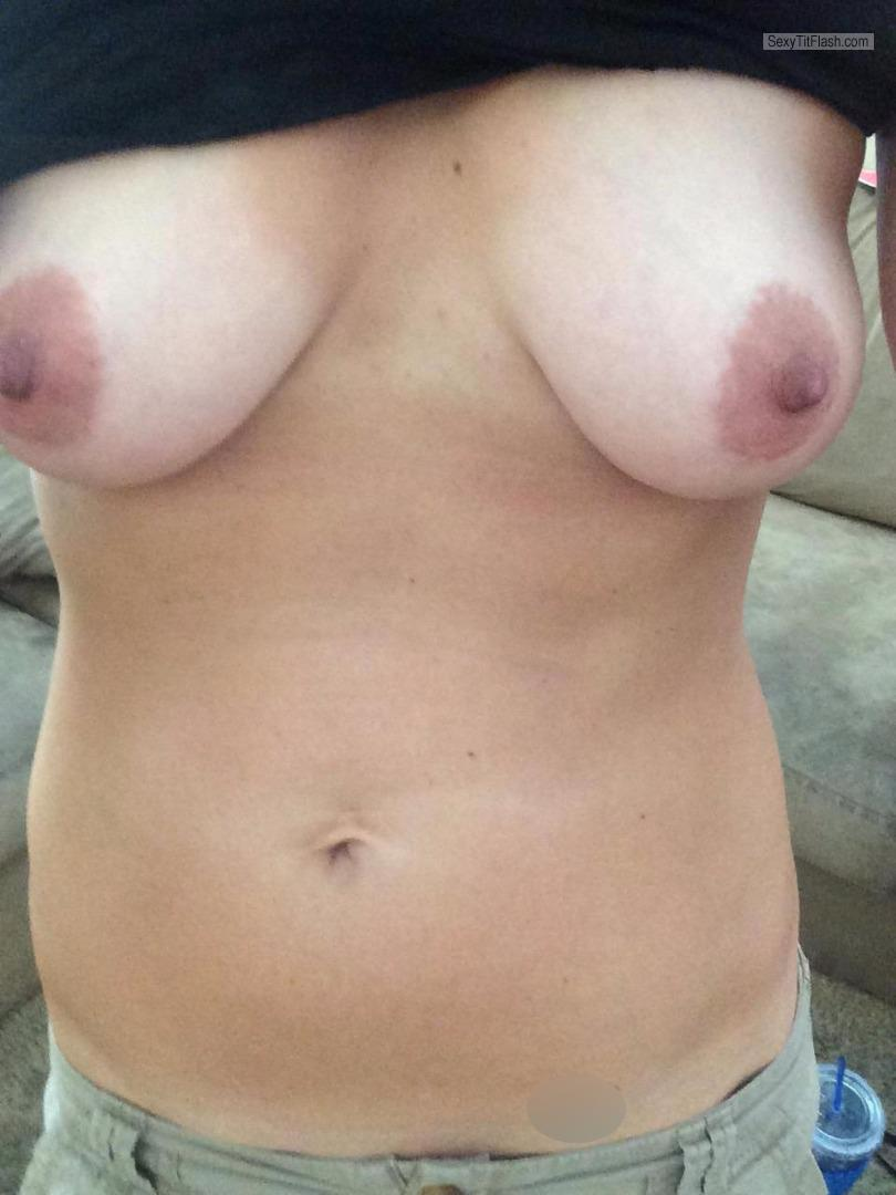 Tit Flash: My Medium Tits (Selfie) - Handymandy from United States