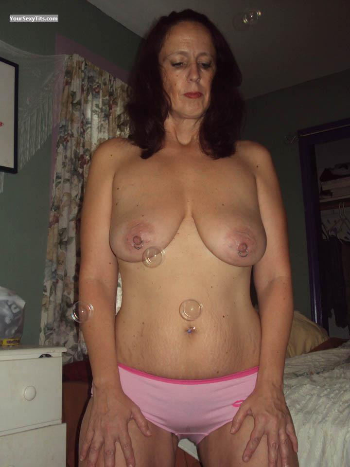 Tit Flash: Wife's Medium Tits - RERE from United StatesPierced Nipples
