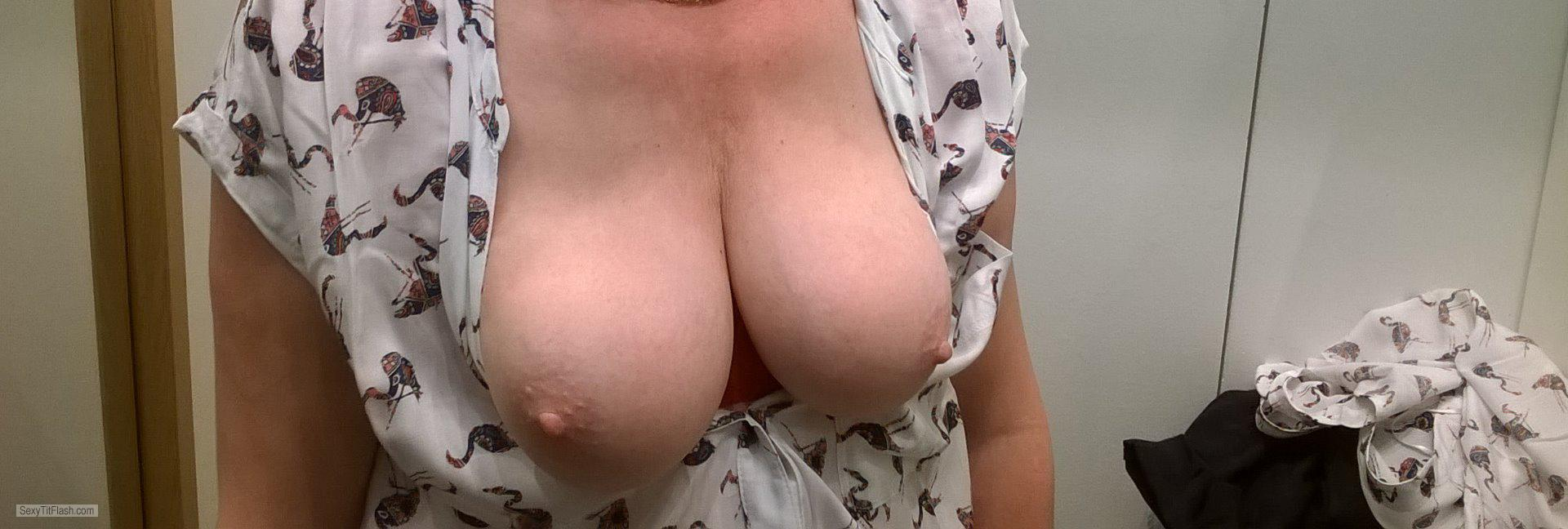 Tit Flash: My Medium Tits (Selfie) - Lyd from Belgium