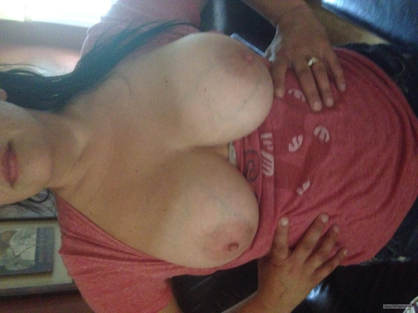 Tit Flash: Wife's Tanlined Medium Tits - Sharon from United States