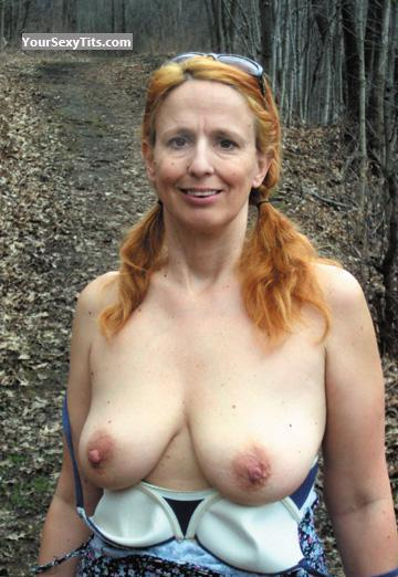 Tit Flash: Wife's Medium Tits - Topless Rere from United States