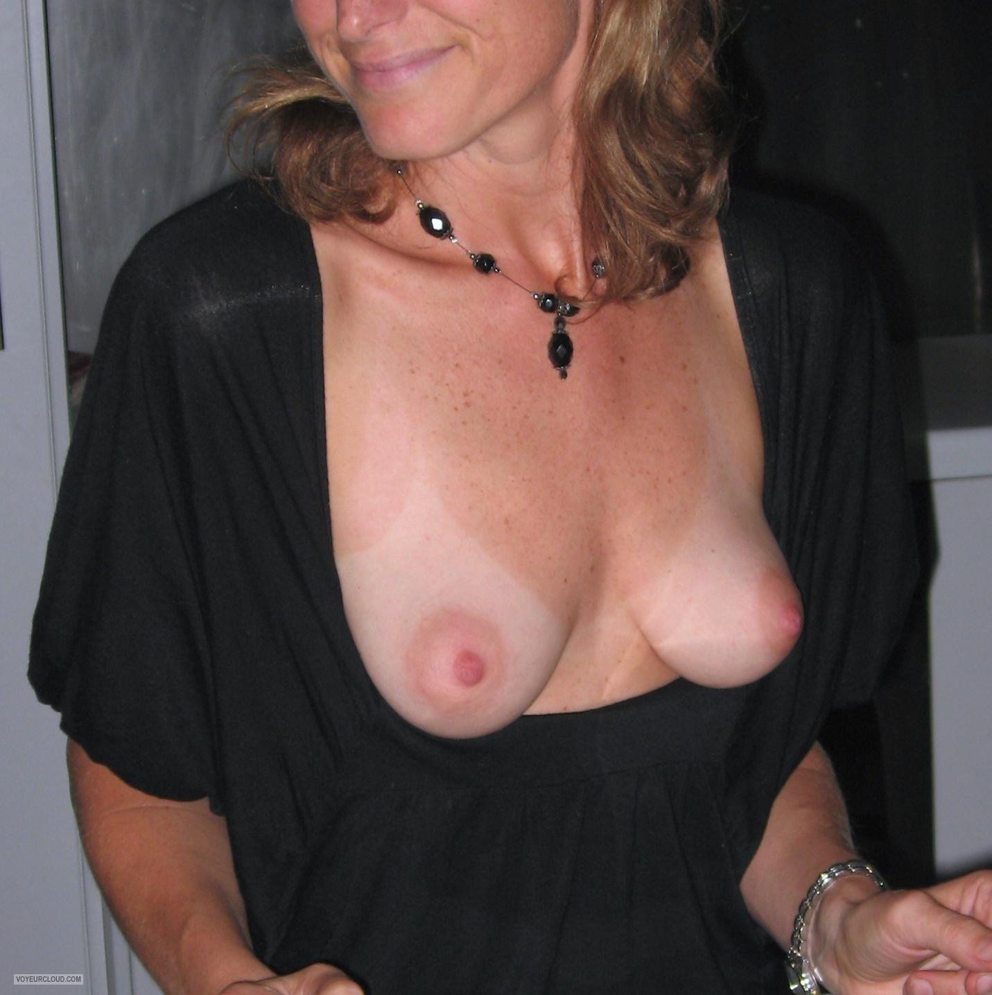 Tit Flash: Ex-Girlfriend's Tanlined Small Tits - Jenny from Australia