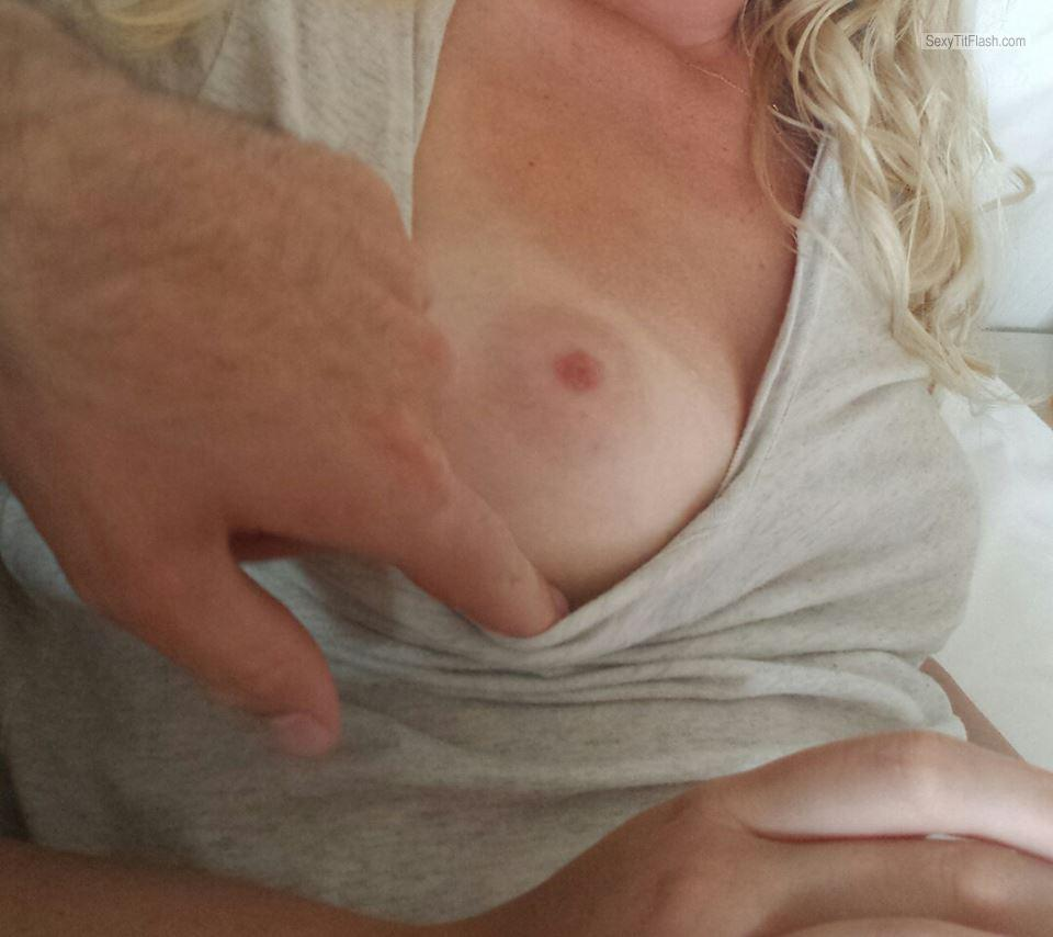 Tit Flash: Girlfriend's Small Tits With Very Strong Tanlines - Blond Cop from Denmark