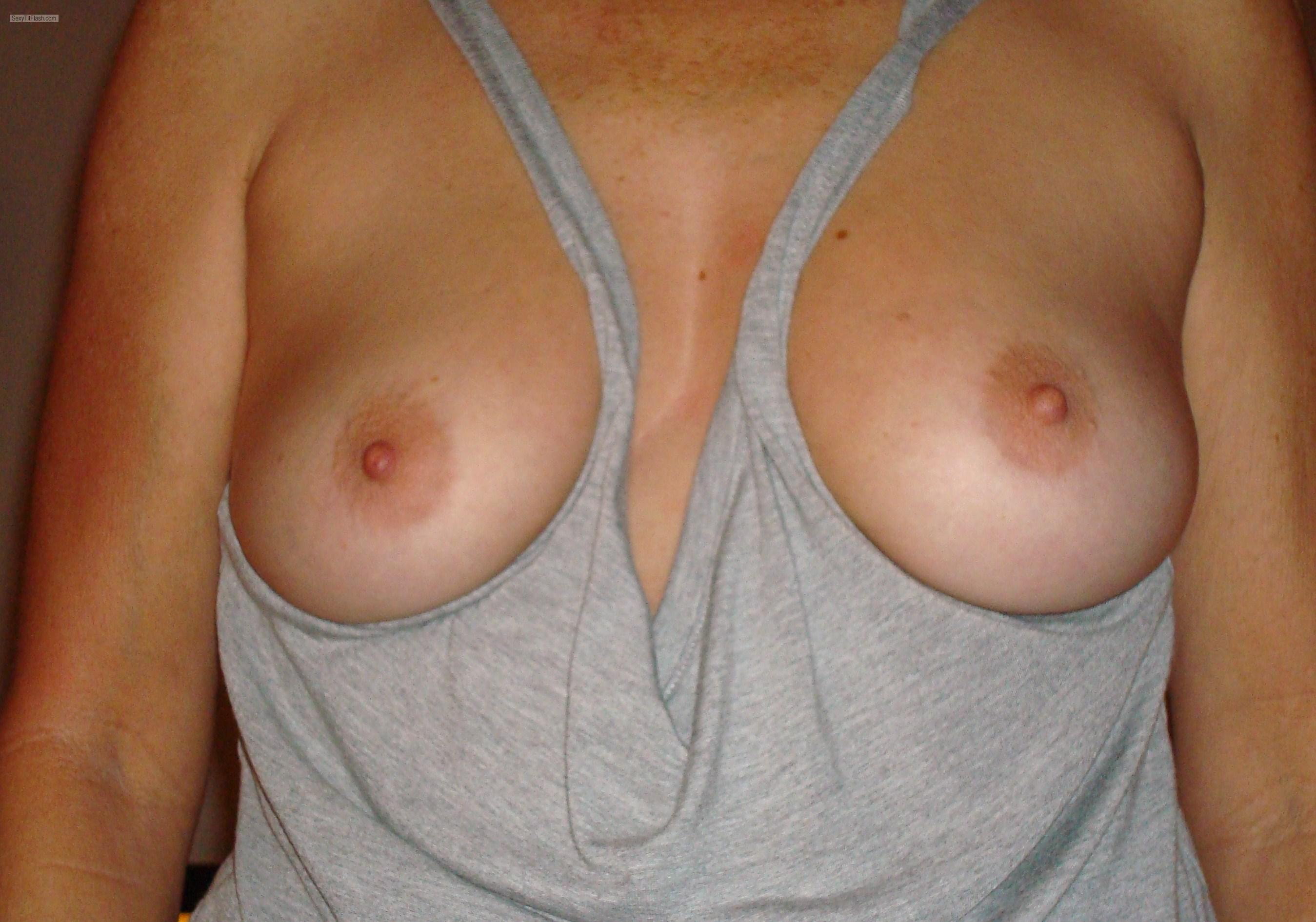 Tit Flash: Wife's Medium Tits - Brenda from United States