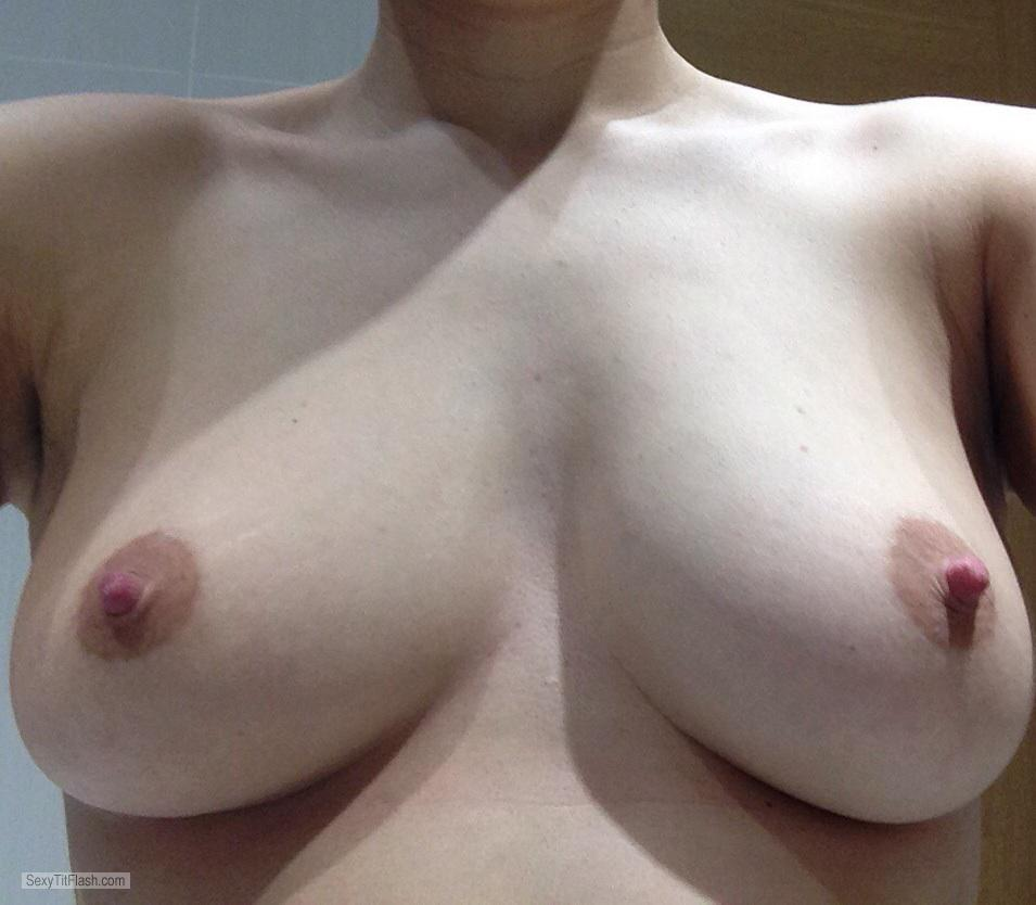 Tit Flash: My Medium Tits (Selfie) - Shy Wife - My 5th Pic This M from United Kingdom