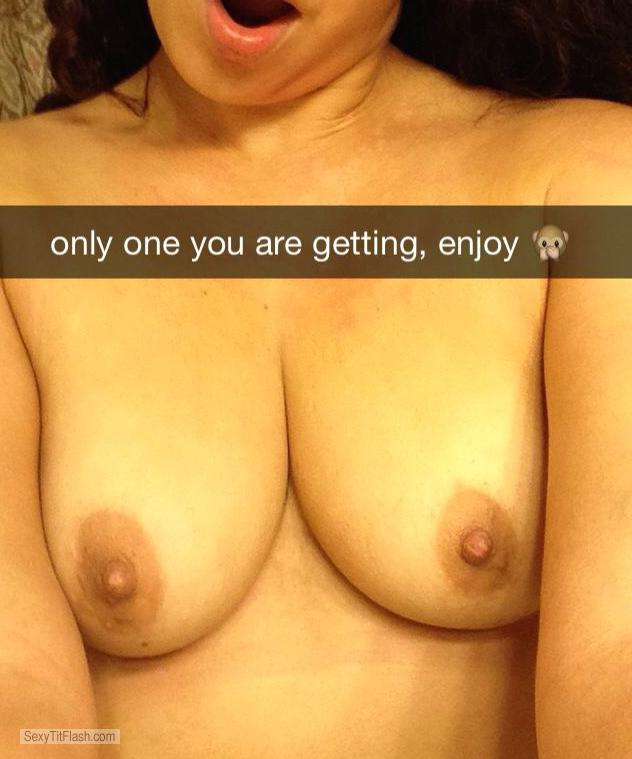 Tit Flash: My Friend's Medium Tits (Selfie) - Em from United Kingdom