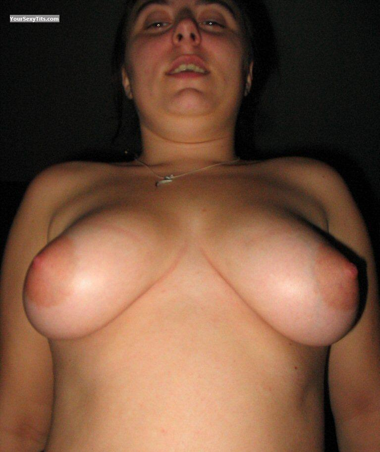 Tit Flash: Medium Tits - Topless Unknown Lady from Italy