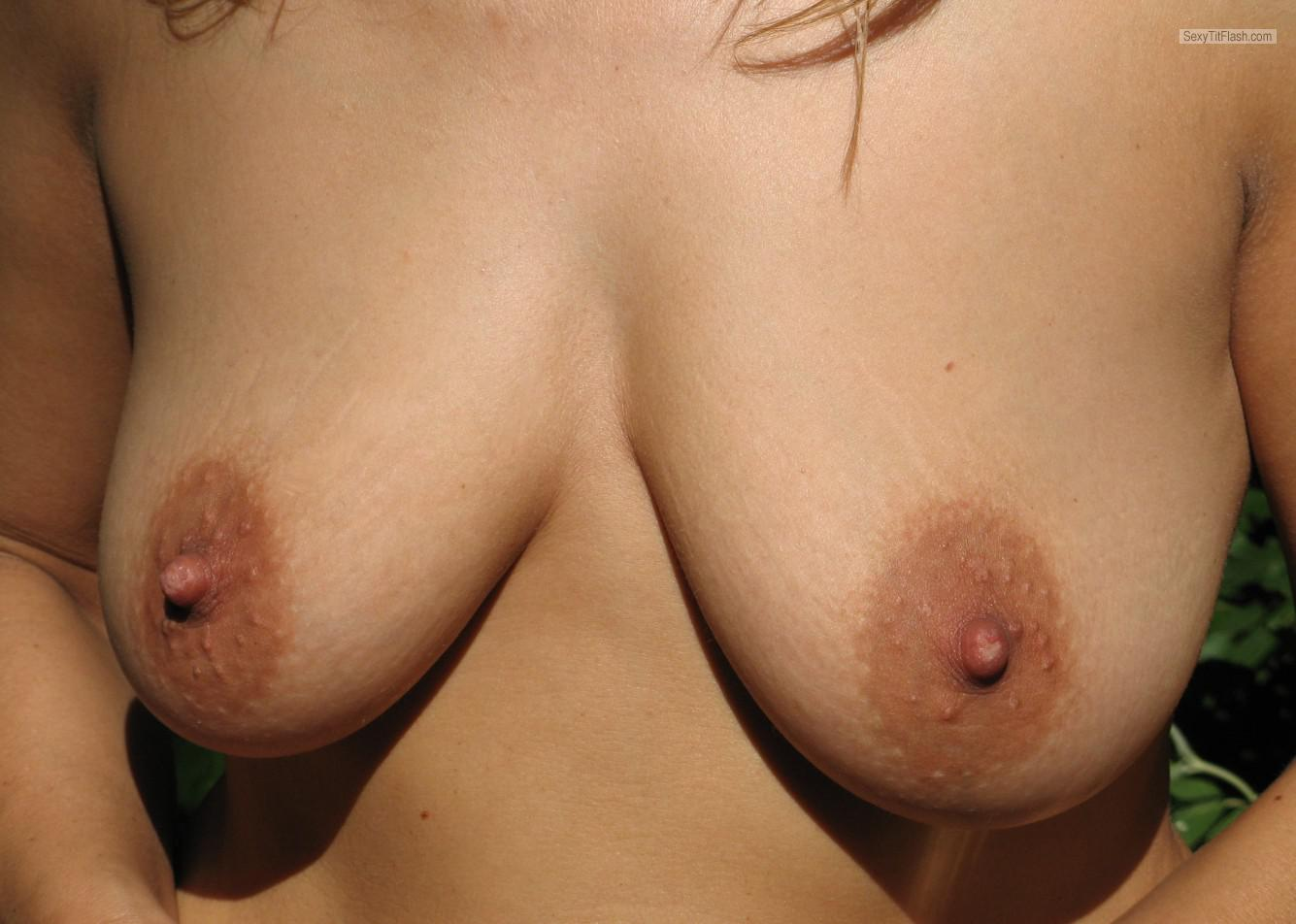 Tit Flash: Wife's Medium Tits With Very Strong Tanlines - Nina from Croatia (Hrvatska)
