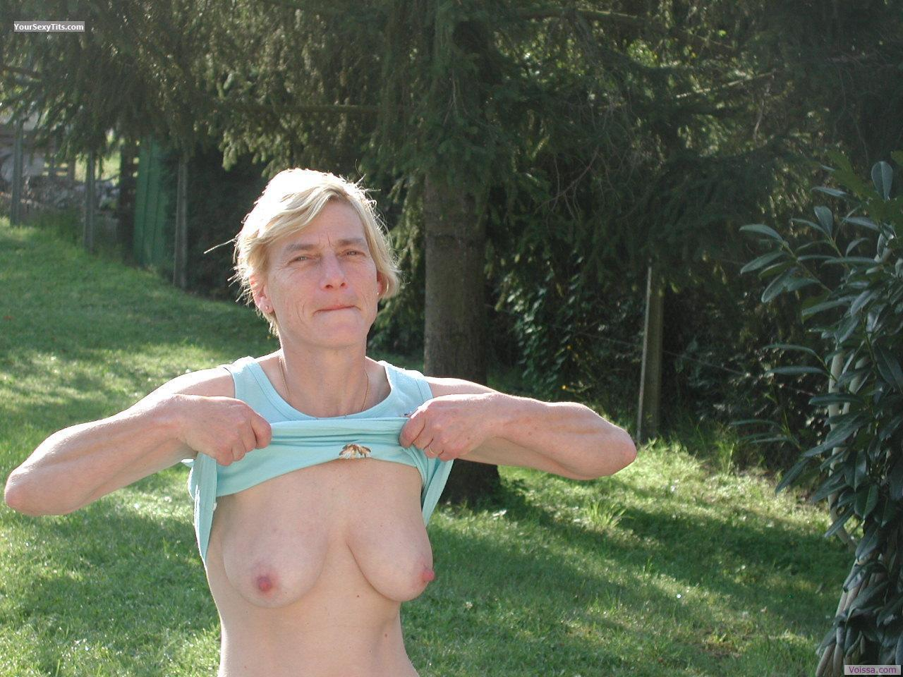 Tit Flash: My Friend's Medium Tits - Muriel from France