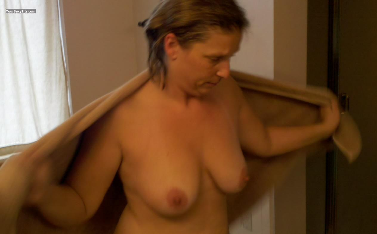 Tit Flash: Medium Tits - Topless Wifey from United States
