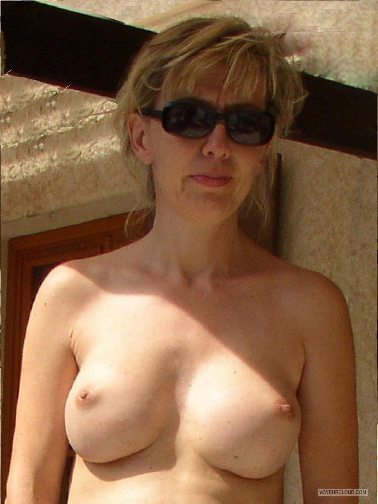 Tit Flash: Wife's Medium Tits - Topless Sandra from Belgium