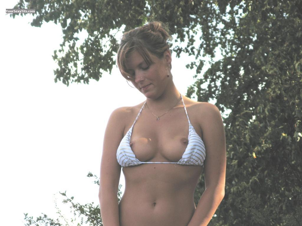 Tit Flash: Medium Tits - Topless Janina from Germany