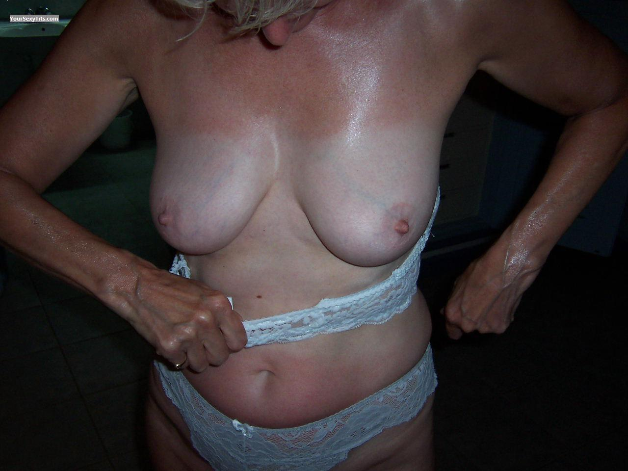 Tit Flash: My Tanlined Medium Tits - Bubblysally from United Kingdom