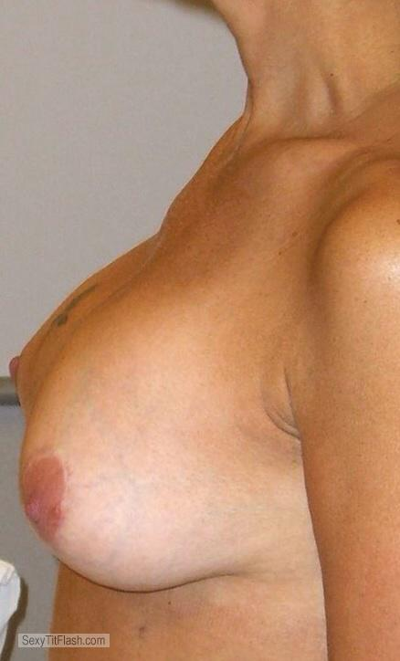 Tit Flash: Wife's Tanlined Medium Tits - Masaz from United States