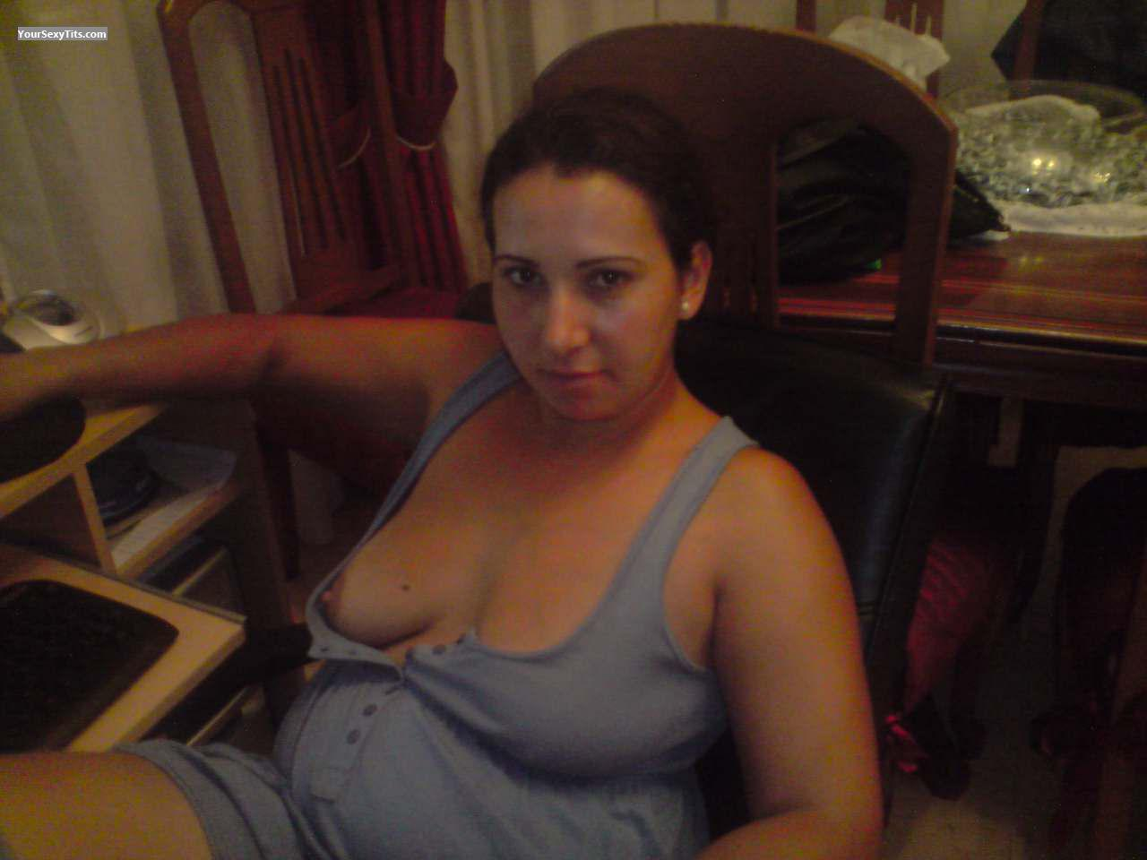 Tit Flash: Wife's Medium Tits - Topless Charco from Spain