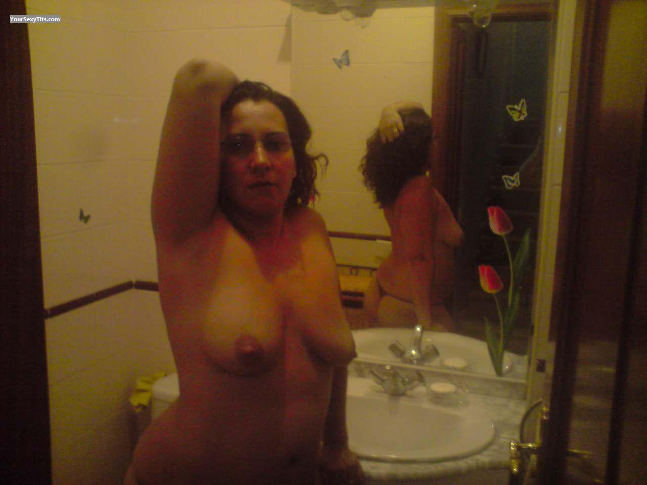 Tit Flash: Medium Tits - Topless Charco from Spain