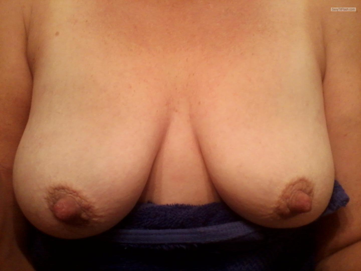 Tit Flash: My Tanlined Medium Tits (Selfie) - Topless Tires from United Kingdom