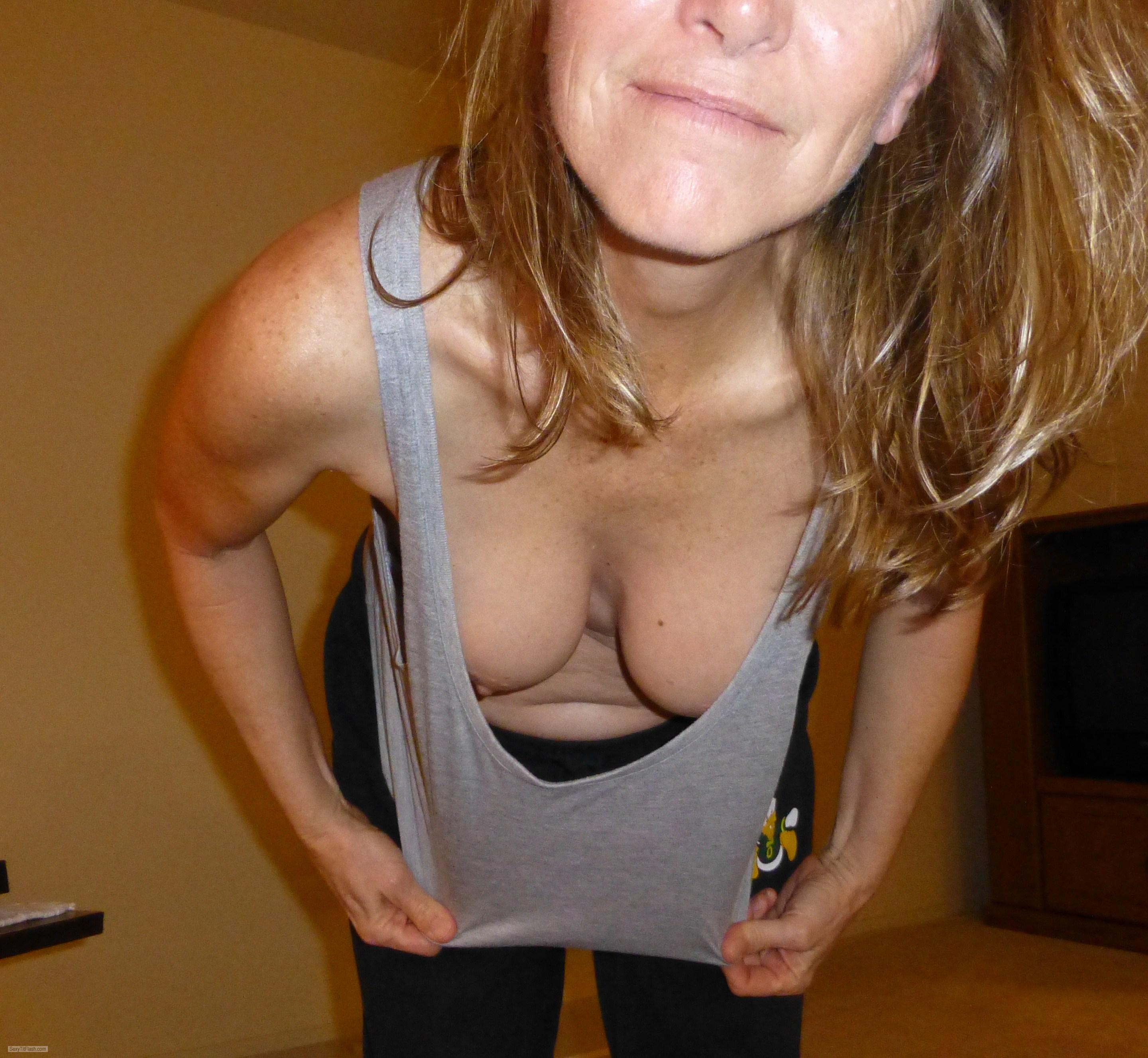 Tit Flash: Wife's Small Tits - Amy from United States