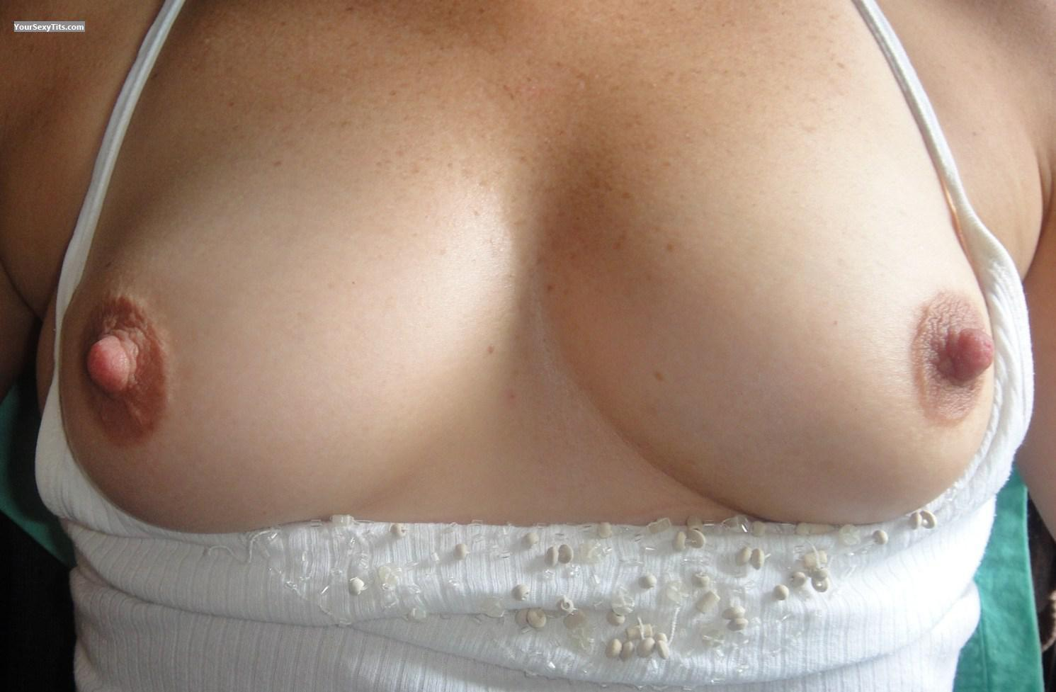 Tit Flash: Wife's Medium Tits - PDE from United States