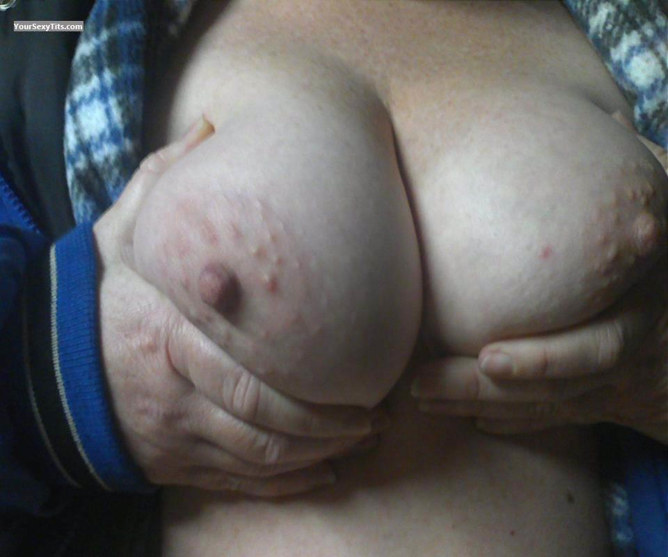 Tit Flash: Wife's Medium Tits (Selfie) - Purplerain from United States