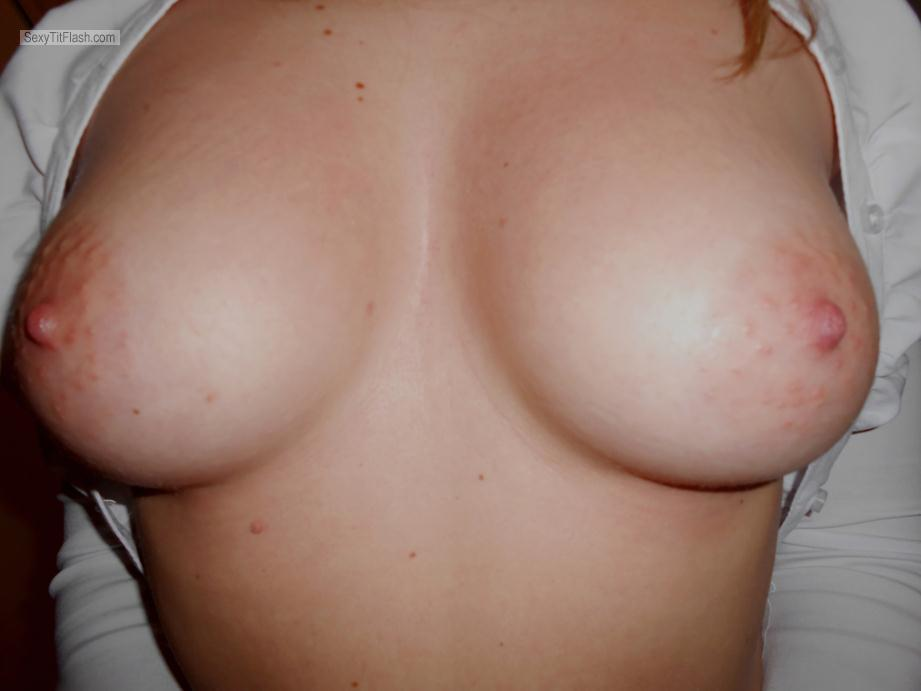Tit Flash: Girlfriend's Medium Tits - Sergiosi from Italy