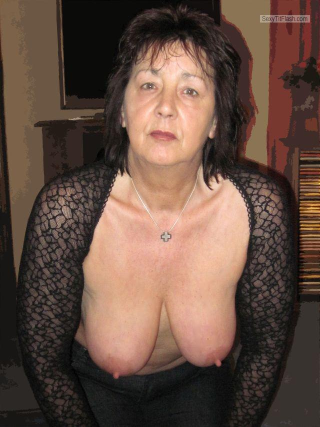 Tit Flash: Wife's Medium Tits - Topless Musch from United Kingdom