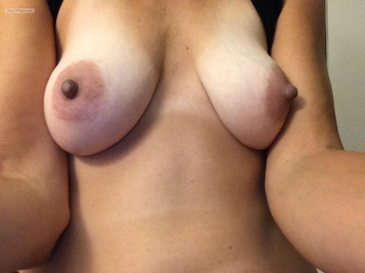 Tit Flash: My Tanlined Small Tits (Selfie) - Handymandy from United States