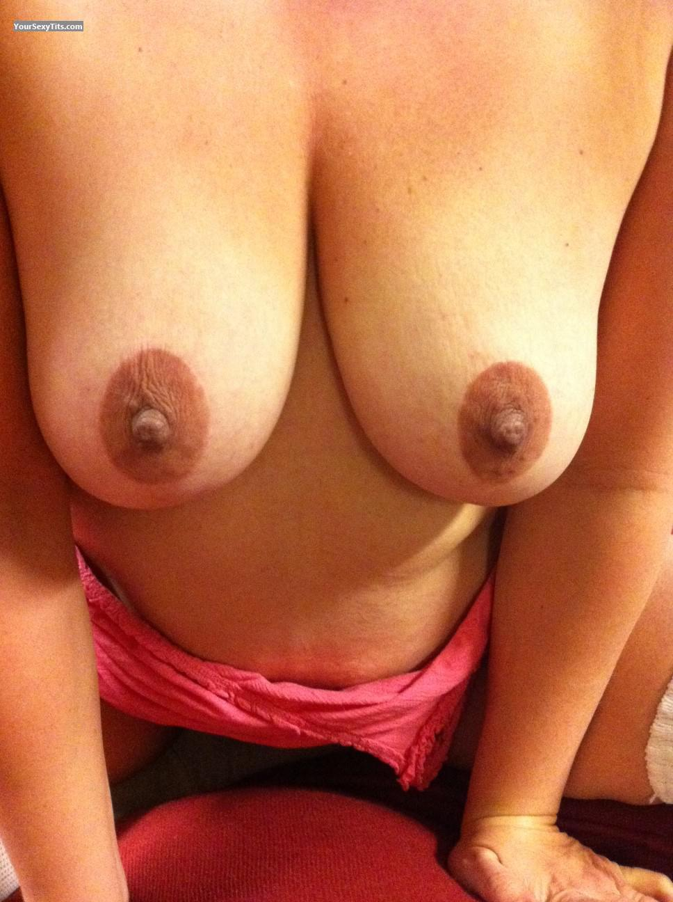 Tit Flash: Wife's Medium Tits - Innocent from United States