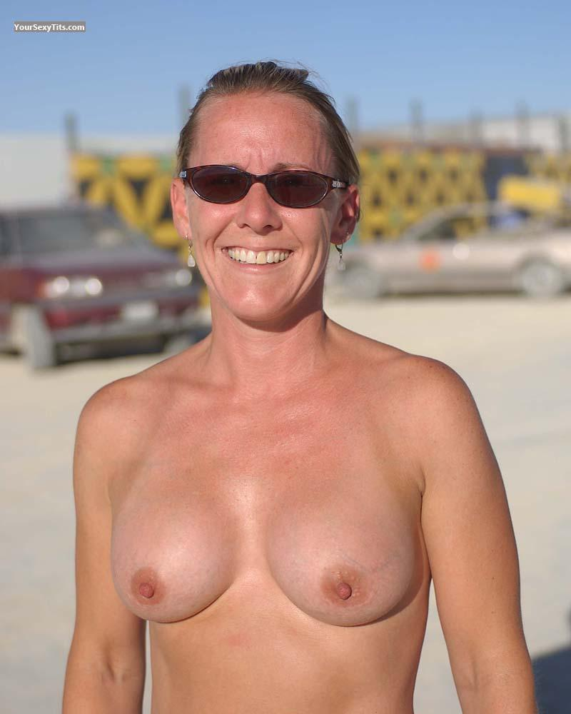 Tit Flash: Medium Tits - Topless Sand Babe2 from Australia